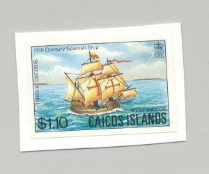 Caicos #19 Sailing Ships 1v Imperf Proof on Card