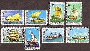 Maldives #575-82 MH cpl ships