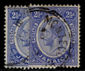 JAMAICA GV SG61 + 61a, 2½d SHADE VARIETIES, FINE USED.