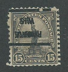 1922 USA Racine, Wis. (inverted)  Precancel on Scott Catalog Number 566