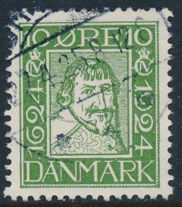 Denmark Scott 166 (AFA 134), 10ø green Postal Anniv, VF Used