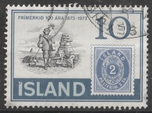 Iceland 1973 Centenary of the 1st Icelandic Postage stamps 10k (1/5) USED
