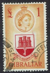 GIBRALTAR 1953 QEII ARMS 1 POUND TOP VALUE USED