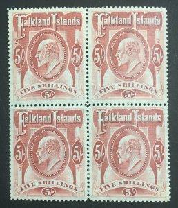 MOMEN: FALKLAND ISLANDS SG #50 1904 BLOCK MINT OG H LOT #60507