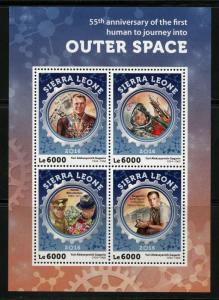 SIERRA LEONE  2016 55th ANN FIRST MANNED SPACE FLIGHT GAGRIN  SHEET MINT NH