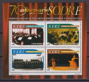 Uruguay 1999 The 70th Anniversary of SODRE  (MNH)  - Music, Musical instruments,
