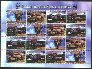 Mozambique. 2002. Small sheet 2393-96. Elephants, wf. MNH.