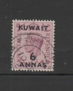 KUWAIT #78  1948  6a on 6p KING GEORGE VI SURCHARGED   F-VF  USED  b