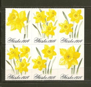 Paske 1974 Yellow Flower Block of 6 Mint Hinged