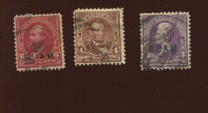 GUAM  3, 4 & 6 Used Stamp Varieties with Private Overprints (Bx 522)