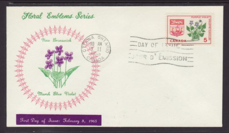 Canada 421 Flower Coat of Arms New Brunswick U/A FDC