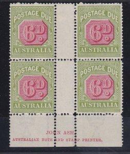 PDA49) 1922-30 Third wmk 6d Carmine & yellow green Ash imprint block of 4