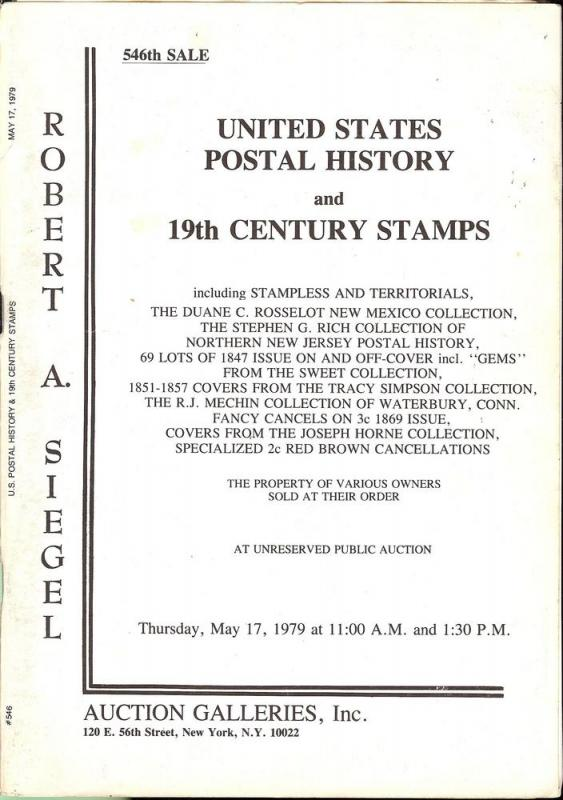 United States Postal History & 19th Century Stamps, Rober...