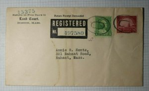 US Sc# 698 Used On Registered Cover 1933 Boston MA Federal Station Land Court