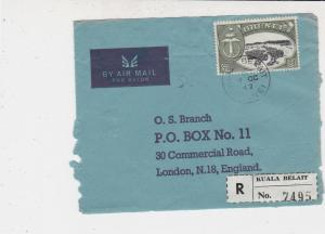 Brunei 1967 Airmail Registered Kuala Belait Stamps Cover FRONT Ref 33229