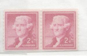 United States, 1055a, 2c Thomas Jefferson Coil Pair, MNH