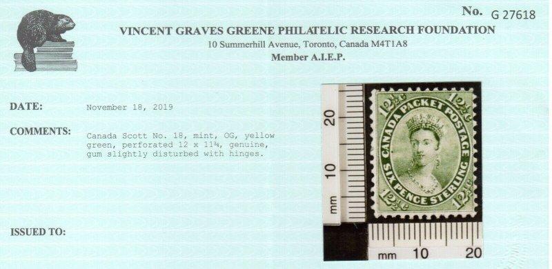 Canada #18 Mint Fine Full Original Gum Hinged Perf 12 x 11.75 *With Certificate*