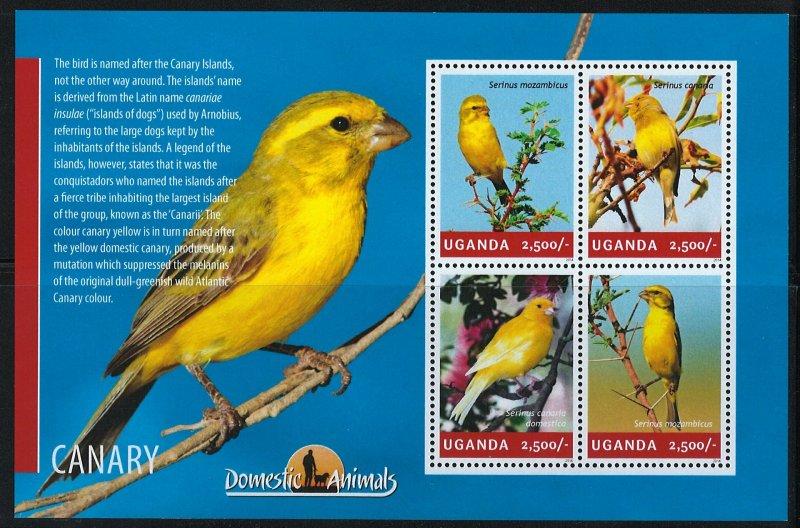 Uganda Scott 2138 MNH! Canary! Sheet of 4!