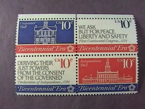 U.S.# 1543-1546(1546a)-MINT NEVER/HINGED--BLOCK OF 4--BICENTENNIAL ERA-1974