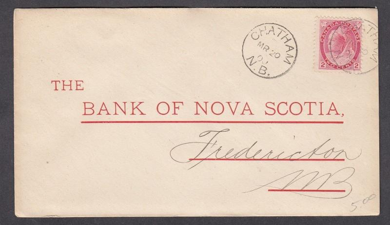 NEW BRUNSWICK TOWN CANCEL COVER CHATHAM