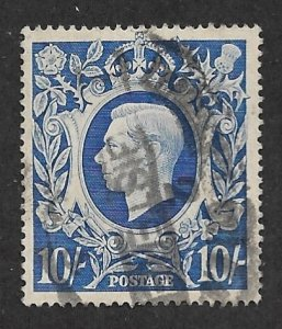 1942 Great Britain 251A 10sh King George VI used