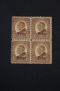 United States #670 Nebr Overprint Block of Four MNH