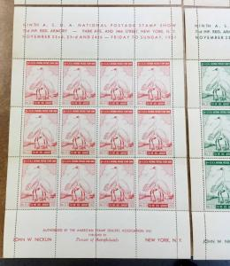 4 mint sheets 9th ASDA National Postage Stamp Show NY - 1957 LABELS Fullsheets
