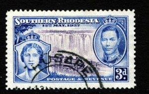SOUTHERN RHODESIA KG VI 1937 Coronation Issue 3d. Violet & Sepia SG 38 VFU
