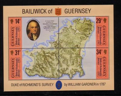 Guernsey Sc 347 1987 Duke of Richmond Survey stamp sheet mint NH