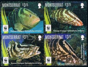 Montserrat 2016 fish marine life wwf 4v MNH