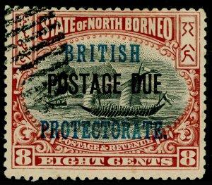 NORTH BORNEO SGD43, 8c black & brown, USED.