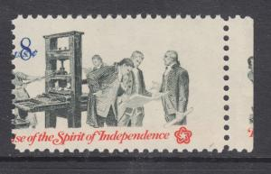 US Sc 1476 MNH. 1973 8c Spirit of Independence, MISPERF w/ Gutter Snipe, ERROR