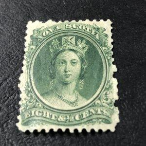 NOVA SCOTIA # 11a-MINT/HINGED*-----GREEN---WHITE PAPER---1860-63(LOTA)