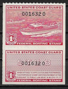 1960 USA RVB1  Outboard and Inboard Motorboats $1 mint with gum faults