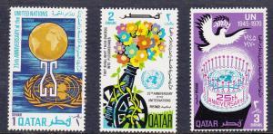 Qatar 226-228 Mint OG 1970 UN 25th Anniv.