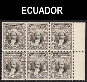 Ecuador Scott 152  F to VF mint OG NH sheet margin block of 6.