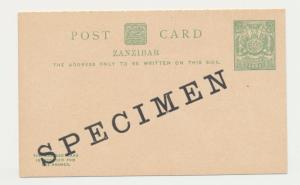 ZANZIBAR 1904 ½a SPECIMEN REPLY PAID CARD, VF UNUSED H&G#15 (SEE BELOW