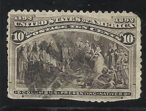 237 10c Used F/VF Perfs Trimmed Faulty