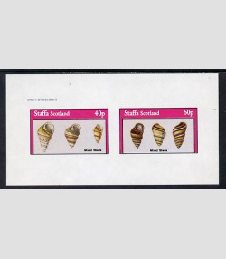 Staffa 1982 (Scotland) SHELLS Sheet 2 values Imperforated Mint (NH)
