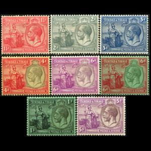 TRINIDAD & TOBACO 1922 - Scott# 23-30 King 1.5p-5s LH