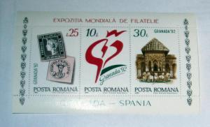 Romania - 3743, MNH S/S, Comp. Grenada '92. SCV - $1.60
