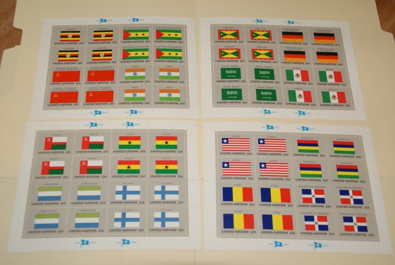 1985 United Nations, UN - NY, Flags series complete sheets of 16, FV $14.08