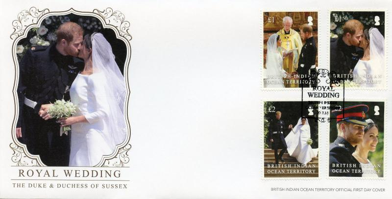 BIOT 2018 FDC Prince Harry & Meghan Royal Wedding 4v Set Cover Royalty Stamps