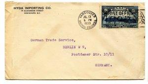 1933 single use UPU 5c to Germany  cover Canada