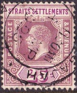 MALAYA STRAITS SETTLEMENTS 1921 KGV 25 Cents Dull Purple & Mauve Die 1 Type 1