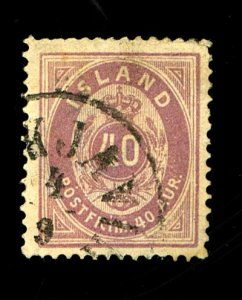 ICELAND #18 USED FVF TINY CORNER PERF CREASE Cat $57  Cat $57