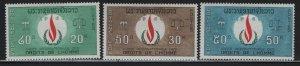 LAOS, 160-162, (3)SET, HINGED, 1968, HUMAN RIGHTS FLAME