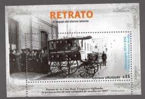 Red Cross carriage ambulance handicapped Braille blind emboss URUGUAY MNH stamp