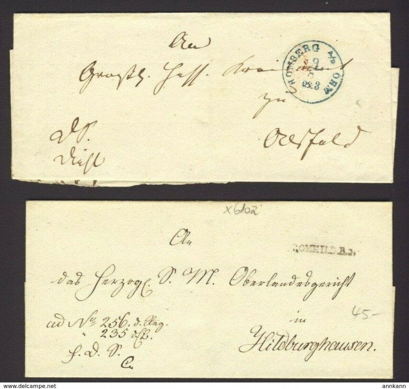 2x Stampless folded cover Green PM HOMBERG A/B OHM BS ALSFELD, 1853 BROMHILD A3