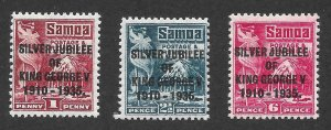 Doyle's_Stamps: Scott #163* to #165* Samoan 1935 KGV Overprinted Postage Stamps